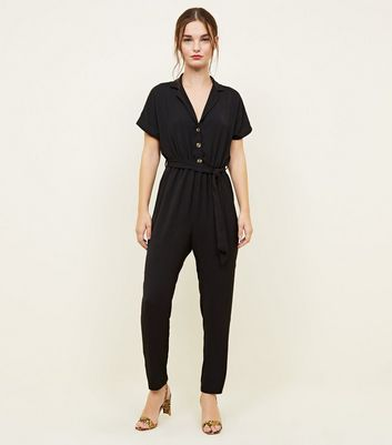 Petite Black Button Front Tapered Jumpsuit