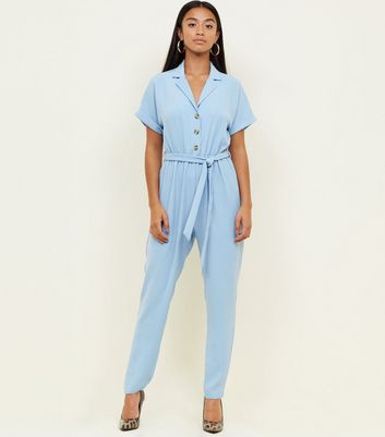 Petite Blue Button Front Tapered Jumpsuit