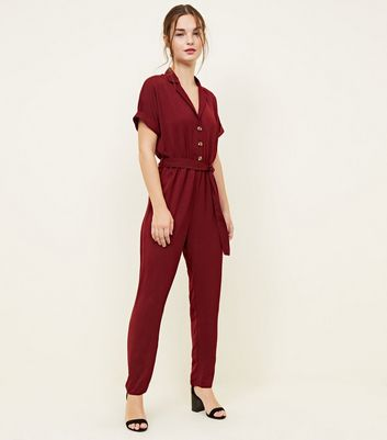Petite Burgundy Button Front Tapered Jumpsuit