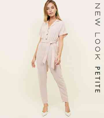 Petite Pale Pink Button Front Tapered Jumpsuit