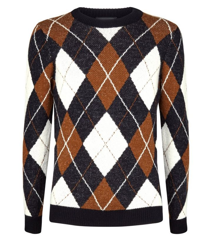 ca2f444c562 Navy Argyle Knit Crew Neck Jumper Add to Saved Items Remove from Saved Items