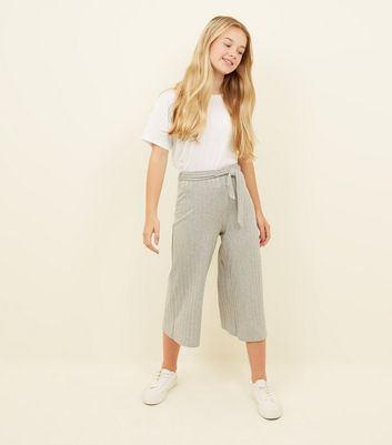 Girls Grey Ribbed Tie Waist Culottes