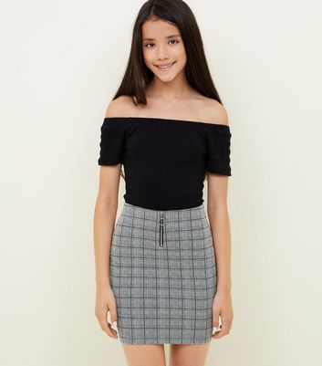 Girls Light Grey Check Zip Front Tube Skirt