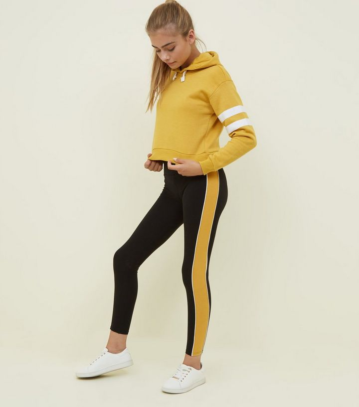 0ba0a5b081491 Girls Mustard and Black Side Stripe Leggings | New Look