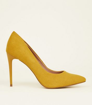Yellow Comfort Suedette Pointed Court Shoes