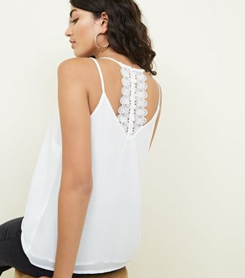 Off White Button Lace Back Cami