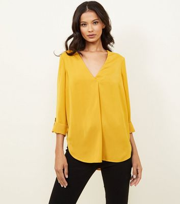 Yellow Satin V Neck Shirt