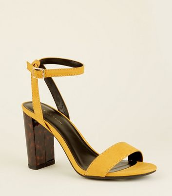 Mustard Tortoiseshell Resin Block Heel Sandals