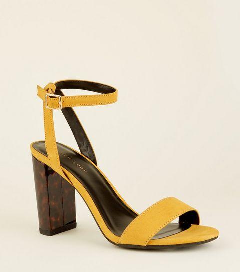5a380231ddc ... Mustard Tortoiseshell Resin Block Heel Sandals ...
