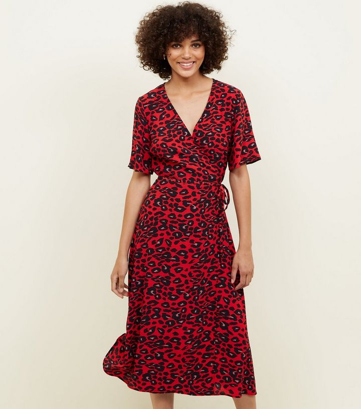 eea4ae584c Red Animal Print Midi Wrap Dress | New Look