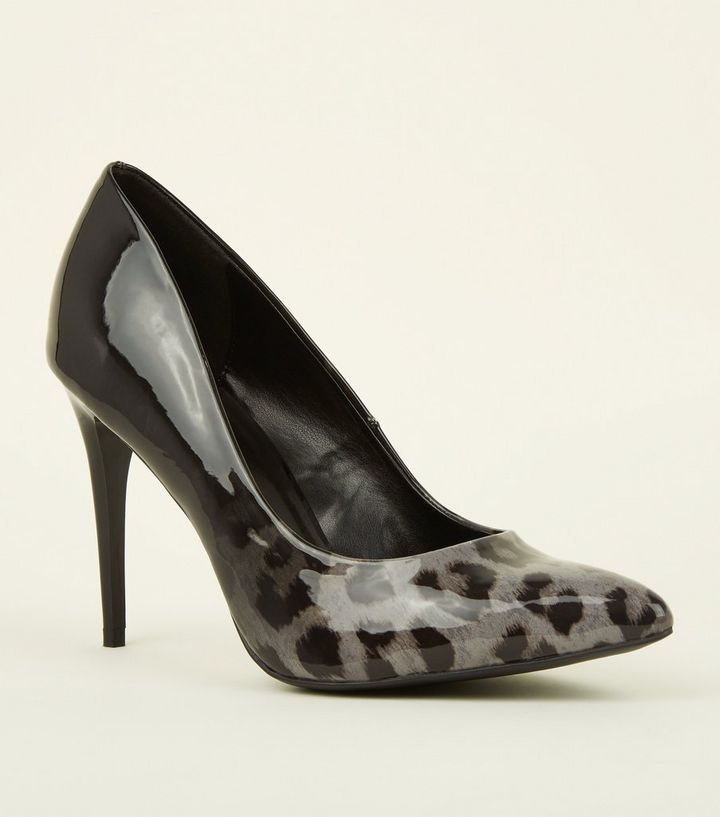 f30b1dcc5633 Grey Patent Ombré Leopard Print Courts | New Look
