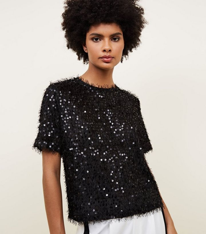 sophisticated technologies where to buy search for authentic Black Faux Feather and Sequin T-Shirt Add to Saved Items Remove from Saved  Items