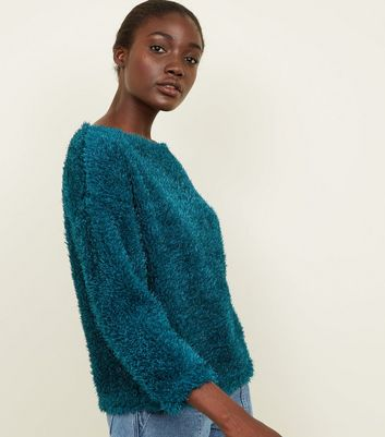 Teal Fluffy Fine Knit Slouchy Jumper