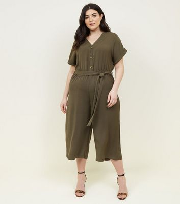 Curves Khaki Button Front Belted Jumpsuit