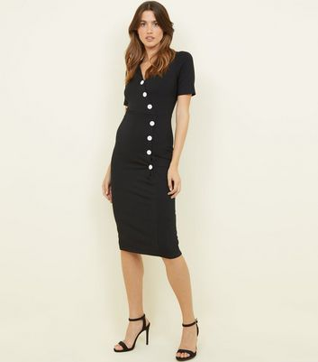 Black Ribbed Button Wrap Midi Dress