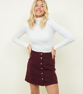 Burgundy Button Front A-Line Denim Skirt