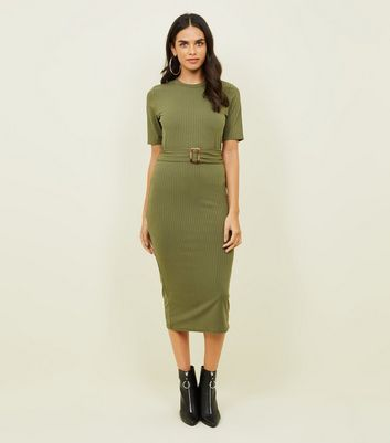 Khaki Ribbed Belted T-Shirt Midi Dress