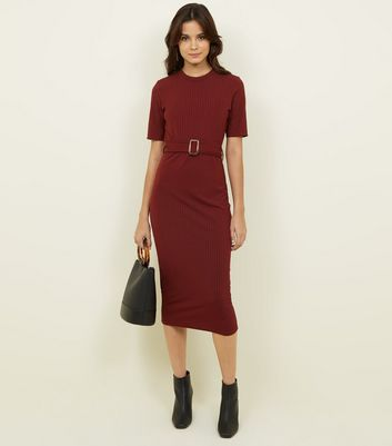 Burgundy Ribbed Belted T-Shirt Midi Dress