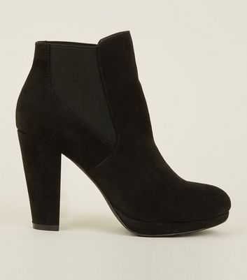 Black Elasticated Block Heel Boots