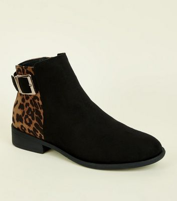 Girls Black Faux Leopard Print Buckle Boots