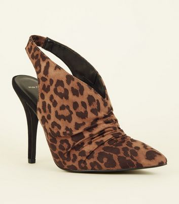 Wide Fit Tan Leopard Print Ruched Slingbacks