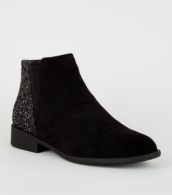 Girls Black Glitter Panel Ankle Boots
