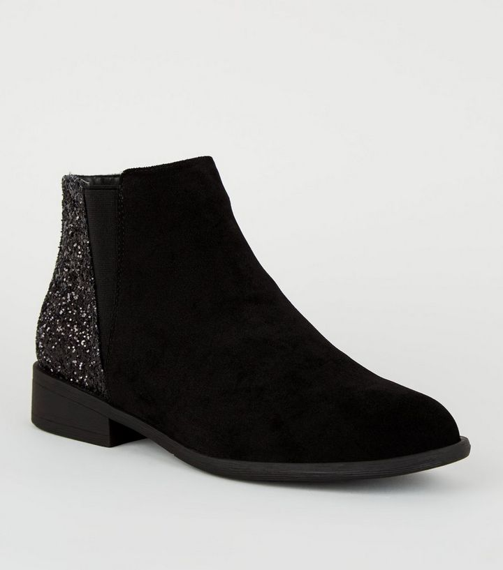 93457b840076 Girls Black Glitter Panel Ankle Boots