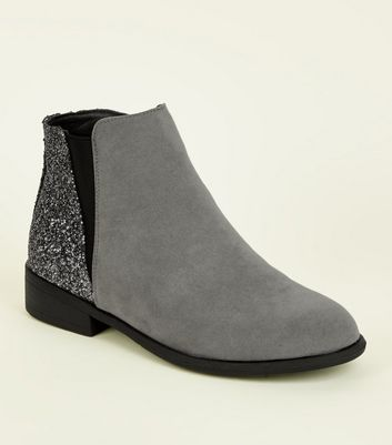 Grey Glitter Panel Faux Suede Boots