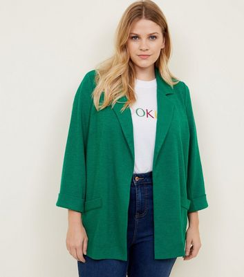 Curves Green Cross Hatch Blazer