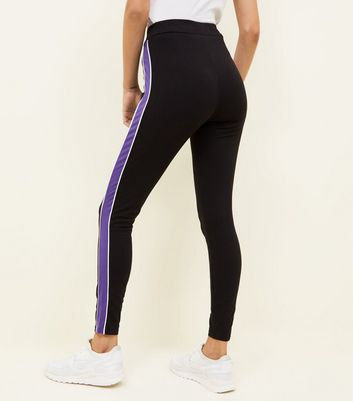 Black and Purple High Waist Side Stripe Leggings Add to Saved Items Remove from Saved Items
