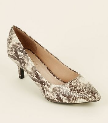Wide Fit Brown Comfort Flex Faux Snakeskin Courts