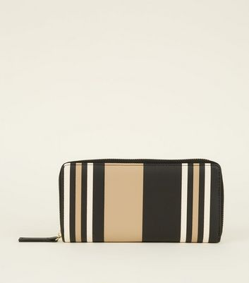 Camel Stripe Leather-Look Large Purse