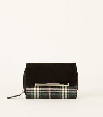 Back Suedette Fold Close Green Check Purse