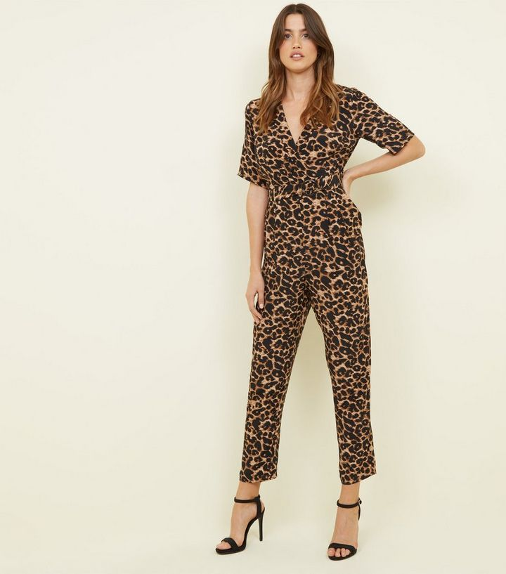 39af307329 Brown Leopard Print Revere Collar Wrap Jumpsuit