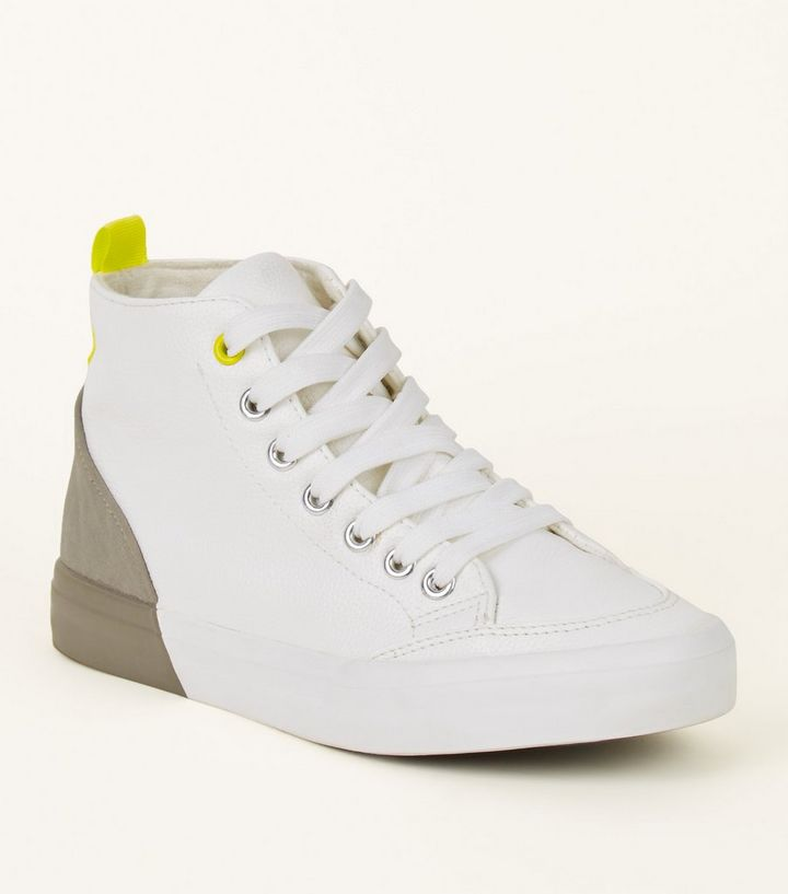 Girls White Colour Block High Top Trainers New Look