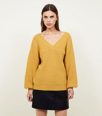 Blue Vanilla Mustard Balloon Sleeve Jumper