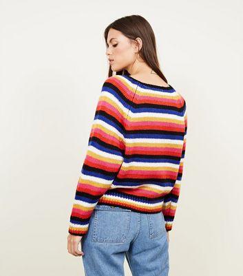 Blue Vanilla Rainbow Stripe Jumper New Look