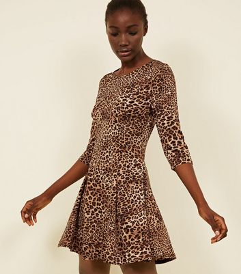 Pink Vanilla Brown Leopard Print Dress