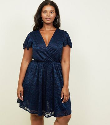 Mela Curves Navy Lace Frill Sleeve Dress