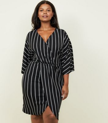 Mela Curves Black Stripe V Neck Wrap Dress