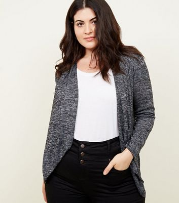 Mela Curves Grey Marl Knit Waterfall Cardigan