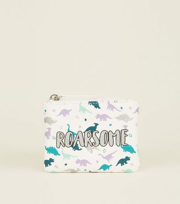White Roarsome Slogan Coin Purse
