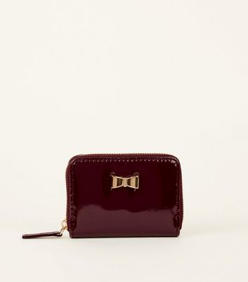 Purple Patent Gold Bow Purse