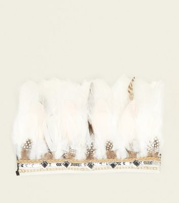 White Feather and Gem Head Band