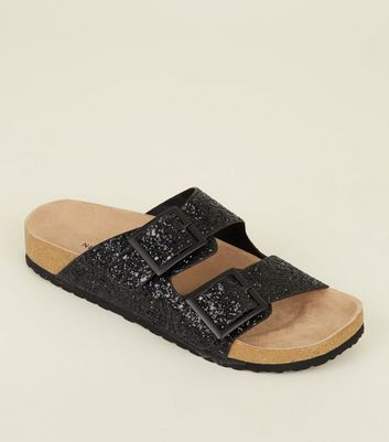 Black Glitter Double Buckle Footbed Sandals