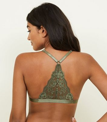 Khaki Moulded Lace Front Fastening Bralette New Look
