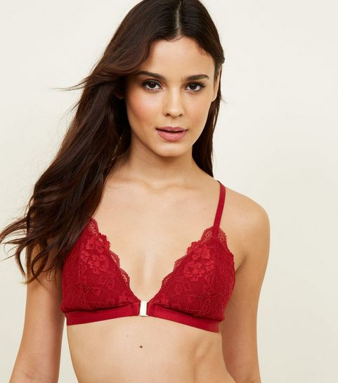 cea6cdc0f28bce ... Dark Red Moulded Lace Front Fastening Bralette ...