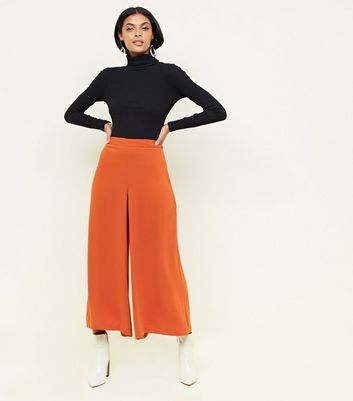 Rust Cropped Wide Leg Trousers