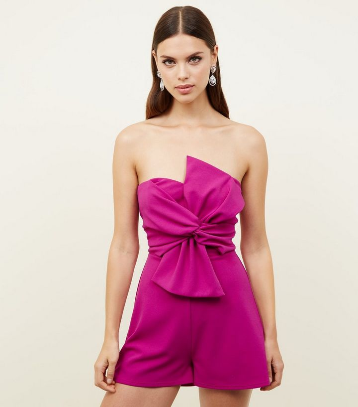 4f1ea071304 Purple Bow Front Strapless Playsuit