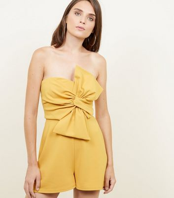 Yellow Bow Front Strapless Playsuit